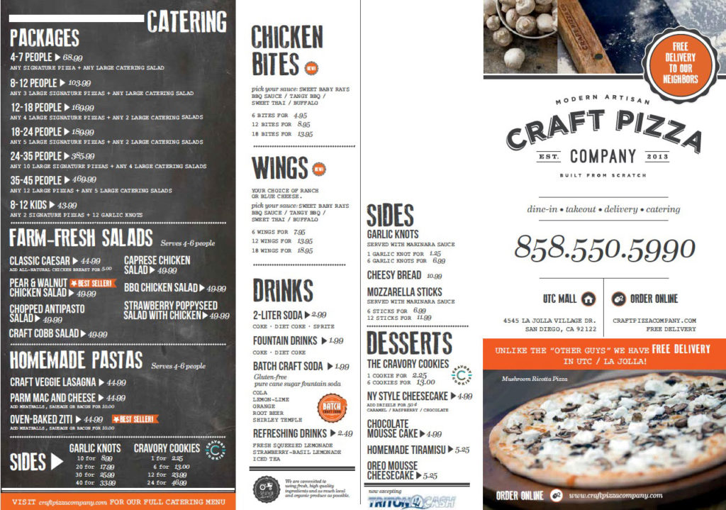 La Jolla & UTC Pizza Delivery - Craft Pizza Company